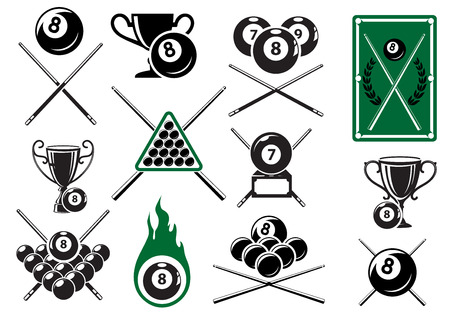 pool cue: Billiard, pool and snooker sports emblems with crossed cues, billiard balls, trophy cups and table