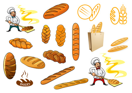 Cartooned bakers holding bakery and different baguettes and bread isolated on white background