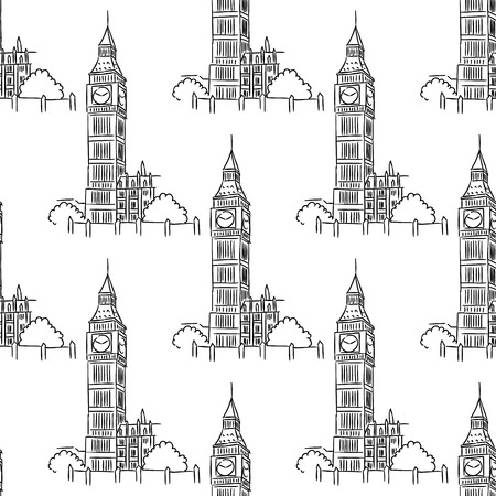 big ben tower: English Big Ben tower seamless pattern for tourism and travel design Illustration
