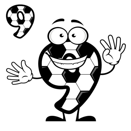 numeration: Cartoon number 9 with soccer pattern for sports design