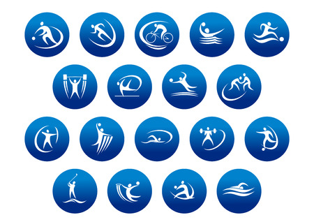Athletics and team sport icons or symbols for sporting and fitness logo design