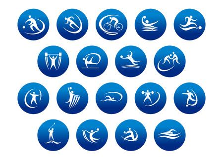 deportes colectivos: Atletismo y los iconos de deportes de equipo o s�mbolos para actividades deportivas y el logotipo de la aptitud de dise�o