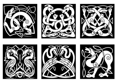 Dogs, wolves, storks and herons in celtic ornament style for medieval or tattoo design Vector