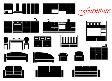 domestic kitchen: Assorted silhouette home furniture with chair, bed, table, kitchen, sofa and chest