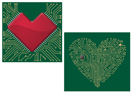 Computer motherboard with heart chip and shape for love concept design Vector