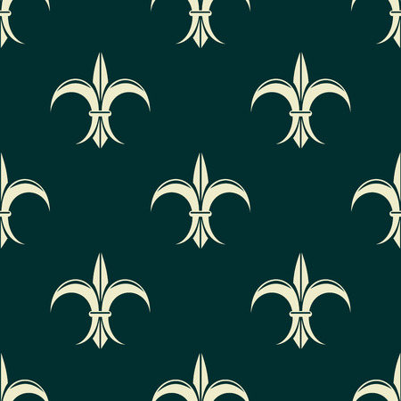 lys: French seamless pattern with fleur de lys flowers for retro and medieval design