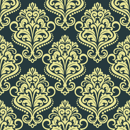 Dainty floral yellow seamless pattern on dark blue background for wallpaper design Vector