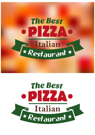 Italian pizza restaurant banner on white and coloured background Иллюстрация