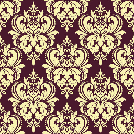 Floral damask seamless pattern with yellow flowers on purple background for interior design