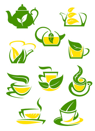 yellow tea pot: Herbal and lemon tea cup icons or symbols with green leaves for beverage design Illustration