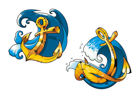 sea water: Colored cartoon ship anchors on sea water waves for tattoo, travel or transportation design Illustration