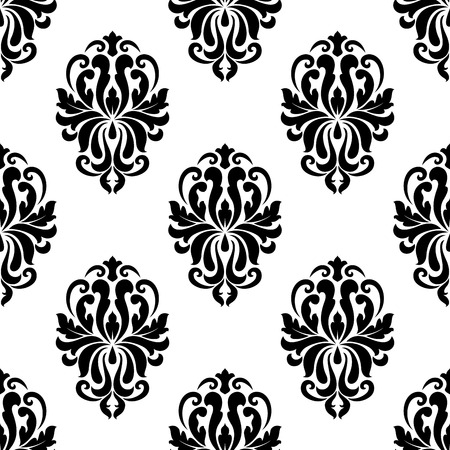 dainty: Classic black and white floral damask seamless pattern with dainty flourishes Illustration
