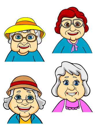Cartoon gelukkig oude vrouwen en senioren tekens op een witte achtergrond