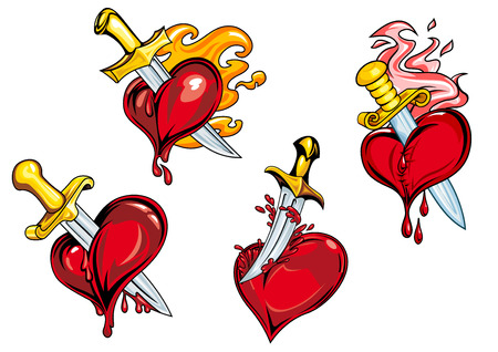 sword and heart: Bleeding hearts stabbed by daggers with fire flames. For tattoo or Valentine holiday design