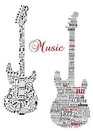 clave de fa: Guitarras clásicas con las palabras y las notas musicales y el texto de la música para el diseño de arte