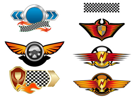 finish flag: Racing sports emblems and symbols with checkered flag, fire flames, wings and trophy cups
