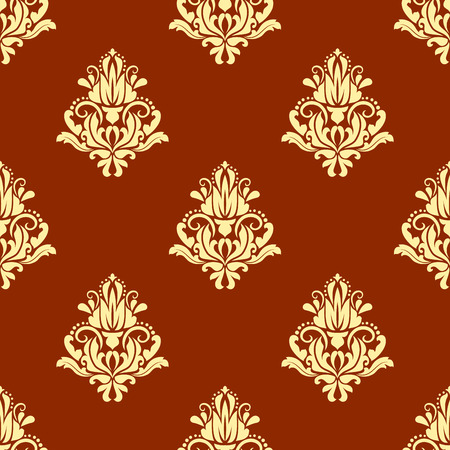 arabesque wallpaper: Retro floral seamless pattern with yellow arabesque elements on orange background for wallpaper and fabric design