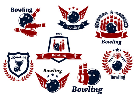 Bowling sports emblems and symbols with ball, ninepins, wings, laurel wreath, trophy cup and decorations Vector