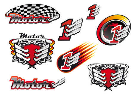 engine flame: Racing and motocross emblems or symbols with checkered flags, number one and exhaust