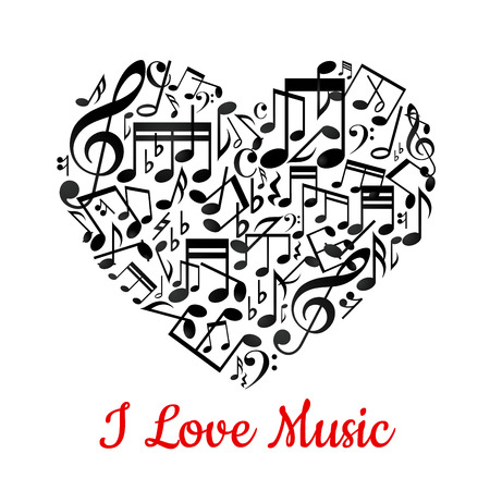 musical ornament: Musical heart with notes ant text I love music