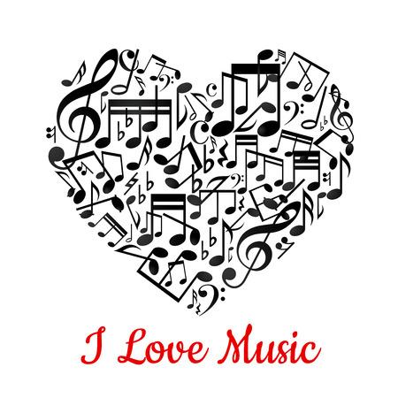Muzikale hart met noten ant tekst I love music