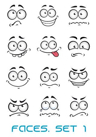 Cartoon tváře s různými emocemi, jako štěstí, radosti, komiksu, překvapení, smutný a zábavy Ilustrace