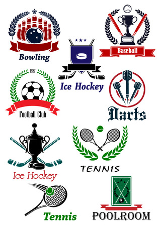 club soccer: Sporting icons, emblems and symbols with darts, bowling, ice hockey, baseball, football, soccer, tennis, and poolroom elements