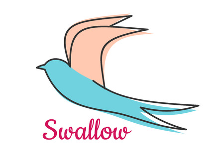 golondrinas: Símbolo abstracto golondrina pájaro con las alas largas y texto a continuación