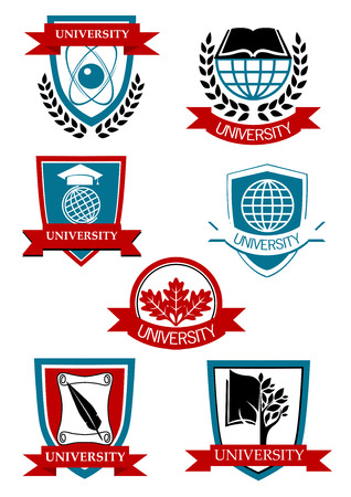 Emblemas y símbolos de la Universidad con el árbol, mundo, libro, banderas y guirnaldas de laurel Vectores