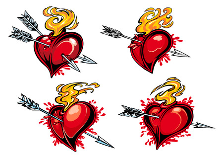 bleeding: Bleeding hearts with arrows in retro style for tattoo or love concept design
