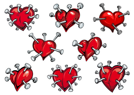 wounded heart: Red hearts pierced by nails in cartoon style for tattoo or any love concept design