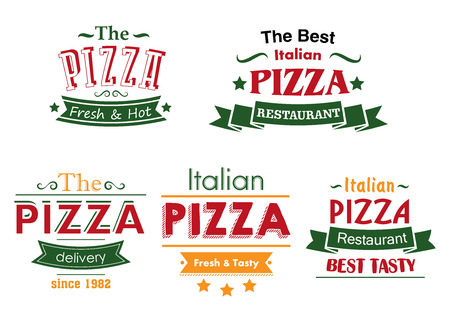 pizza box: Italian pizza restaurant labels in combination of red, green and yellow colors with ribbon banners and text Fresh and Hot, Best Tasty and Delivery for pizza box and menu design Illustration