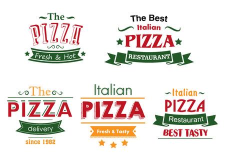 caja de pizza: Italianos etiquetas restaurante de pizza en combinaci�n de colores rojo, verde y amarillo con banderas de la cinta y el texto fresco y caliente, la mejor Sabroso y entrega para caja de pizza y el dise�o del men�