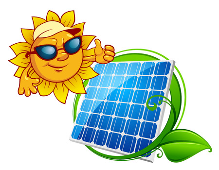 Solar energy panel bordered green stem with leaves and cartoon smiling sun in sunglasses