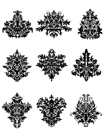 Damask floral ornamental elements with lush black flowers on white background for luxury patterns design