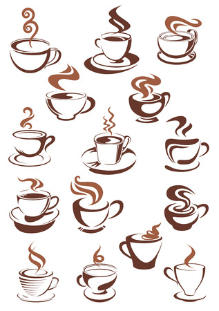 capuchino: Tazas esquema marrón llenos de aromático café caliente, capuchino, espresso, café con leche o el chocolate con remolinos de vapor por encima de ellos para cafetería y restaurante de diseño de menú