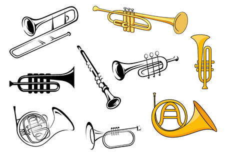 Trompetas, trombón, tuba, clarinete iconos en el estilo de dibujo y el dibujo para el diseño de orquesta y música en cartel Ilustración de vector