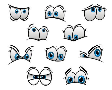 ojos caricatura: Ojos azules lindos cartooned grandes con emociones felices, divertidas, tristes y enojados para la creaci�n de personajes de c�mic Vectores