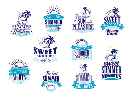 sun beach: Summer holidays labels or emblems with sunrise, palms and waves in shades of blue color for travel and tourism industry design