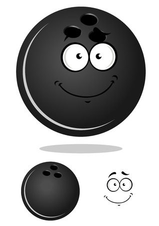 Cartoon glossy bowling ball character with shadow and a duplicate without smiling face for bowling club or team mascot design