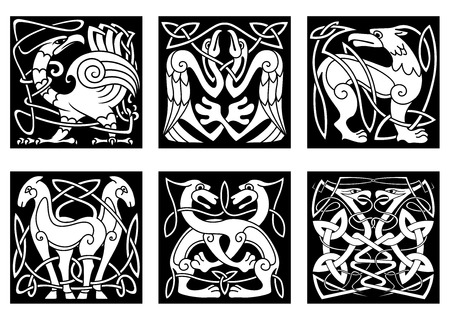 bird  celtic: Celtic animals and birds with traditional irish ornament on black background for tattoo or heraldry design