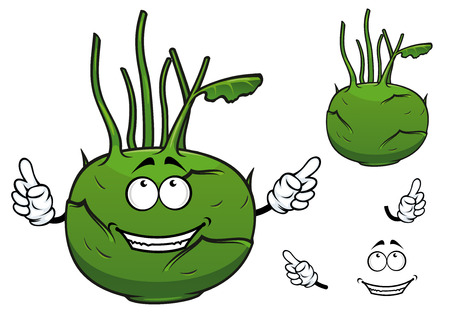 cartooned: Cartooned fresh green vegetable kohlrabi cabbage with cheerful smiling face and stalks for healthy nutrition concept and food design