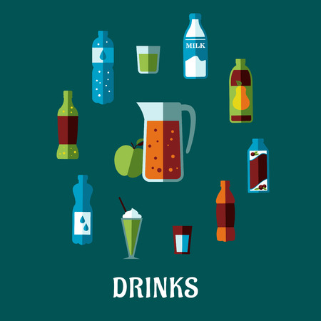 non: Flat non alcoholic drinks concept with pitcher and fresh apple encircled bottles of mineral water, milk, juice, cola, lemonade and glasses with cocktails