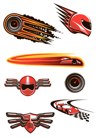 motorsport: Racing and motorsport symbols in red and orange colors with helmet and speedometers in fire flames, racing cars on a checkered roads, motocross helmet and shield on handlebars