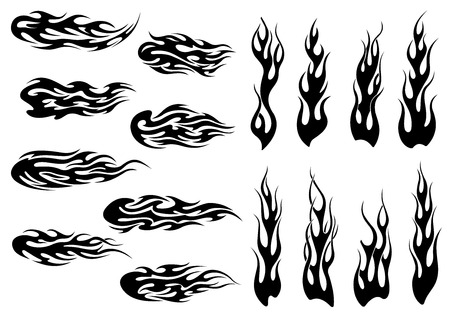 Black fire flames in tribal style with long swirls for tattoo and vehicle decoration design