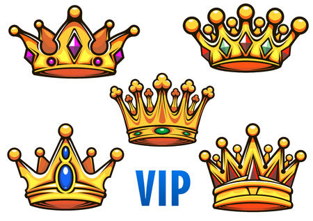 Golden royal crowns in cartoon style ornate decorated colorful jewels with blue caption VIP for heraldic, royal or coat of arms design