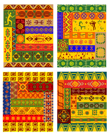 Ethnic geometric pattern with traditional african ornaments including primitive hunters, animals and plants in warm colors for fabric and interior decoration design