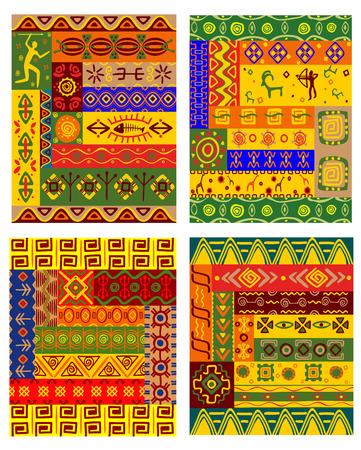 Etnische geometrische patroon met traditionele Afrikaanse versieringen waaronder primitieve jagers, dieren en planten in warme kleuren voor stof en het interieur ontwerp Vectores