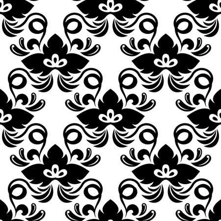 adorned: Floral seamless pattern in black and white with abstract bold flowers based on shamrock leaves adorned twisted tendrils suitable for background and wallpaper design