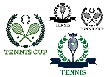 Tennis tournament emblems and logo with rackets and balls framed laurel wreath, ribbon banners, stars and crowns for sporting competition design